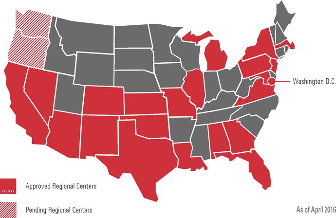 Map of Civitas Regional Centers